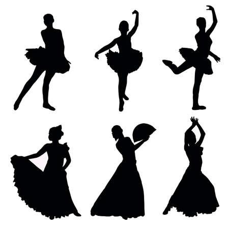 danseuse flamenco: Un ensemble de silhouettes de danseurs