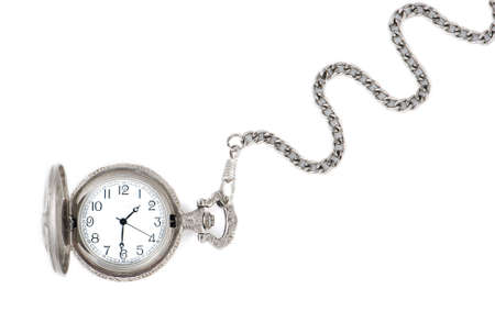 Antique watch with a chain isolated on a white background photo
