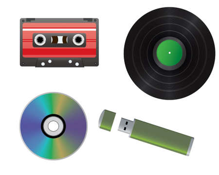 Vinyl record, cassette, CD, flash drive  Vector