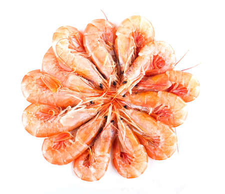 Fresh, uncooked shrimp arranged in a circle Foto de archivo