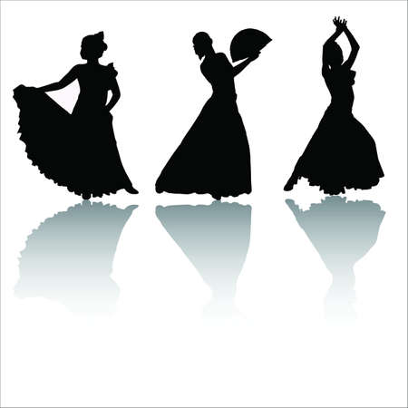 Silhouettes of dancing girls with shadow
