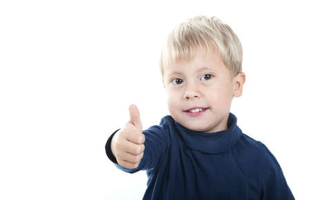 child saying Ok isolated on a over white background
