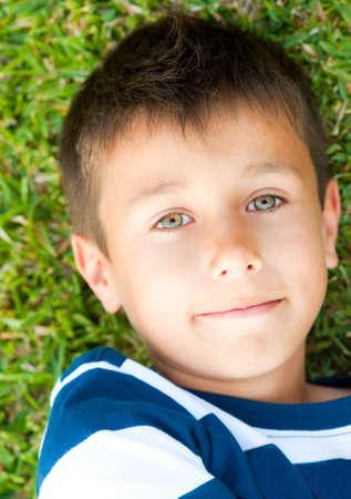 Portrait of a handsome boy in nature  Foto de archivo