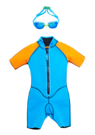 bathing   suit: bathing suit and goggles for swimming on a white isolated background