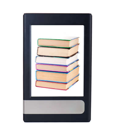 replaces: Easy e-book, replaces a lot of printed books Stock Photo