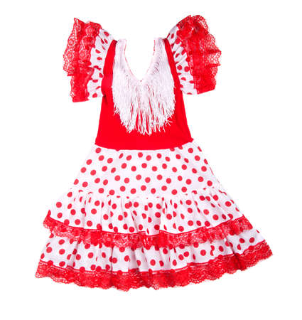 Baby red dress with polka dots on a white background