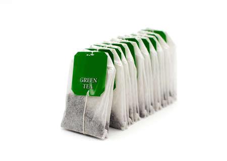 Green Tea bag isolated on white background Stock Photo - 16293308