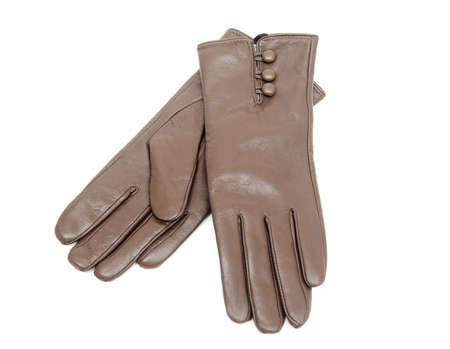 furskin: For women, leather gloves isolated on a white background