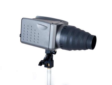 barndoor: Studio flash with head isolated on white  Stock Photo