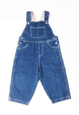 Children\'s denim overalls isolated on white background