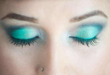 Photo of closed eyes, a beautiful professional make-up, Stock Photo