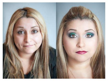 pessoas: Retrato de uma menina com maquiagem e sem maquiagem Imagens