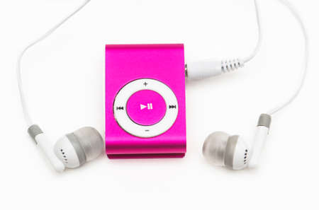 mp: pink mp 3 player isolated on white Stock Photo