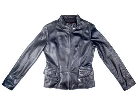 black leather jacket isolated on white background 版權商用圖片