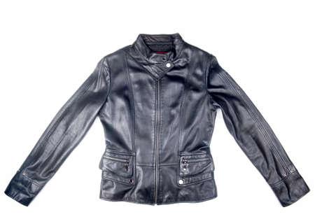 black leather jacket isolated on white background Foto de archivo