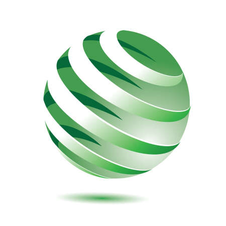 green globe: 3d green globe with shadow on white background