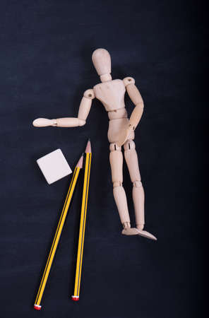 Wooden puppet for learning to draw Stock Photo