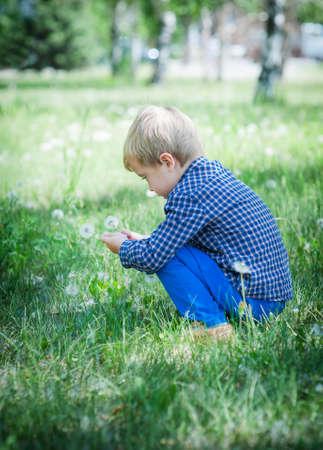 Cute little boy blowing on dandelion photo