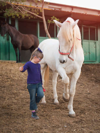 Child and bay horse in field
