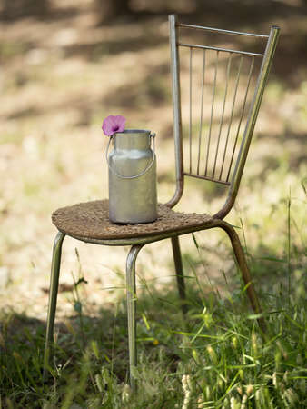 Retro little barrel for milk stands on a chair against Stock Photo