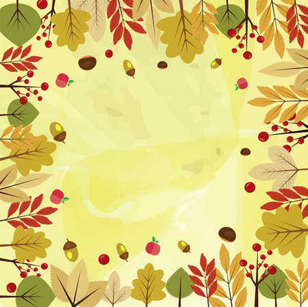 beautiful autumnal background with different autumn leaves