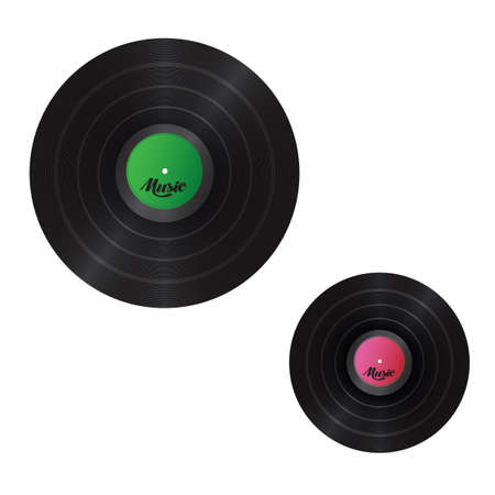 Two musical plates of different size on a white background Illustration