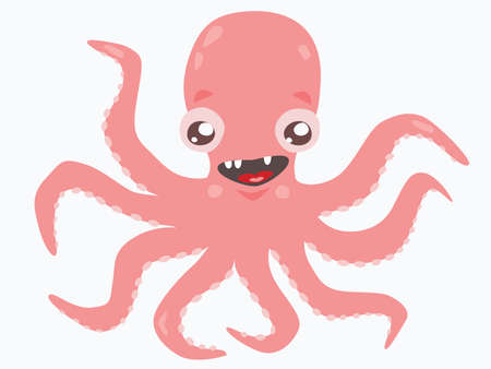 Cute pink octopus on white isolated background.