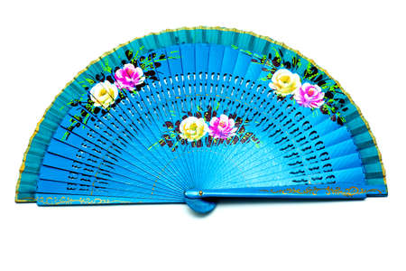 Blue Open Hand Fan Isolated on a White Background