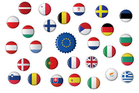 Bottle caps with different flags, the European Union and the countries that it includes.