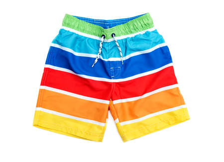 Swimming shorts for boy in stripes of different colors.