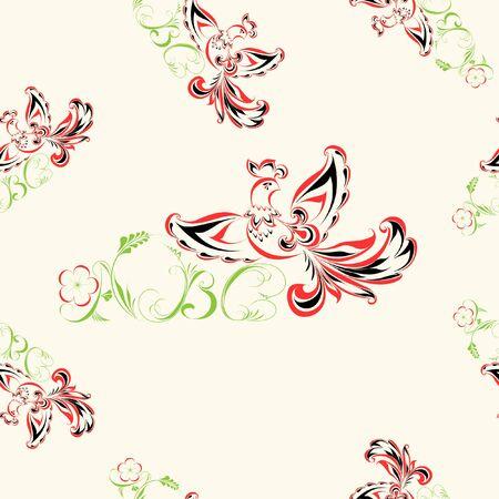 khokhloma: Seamless pattern with khokhloma elements