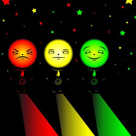 tricolor: Men tricolor with power button Illustration