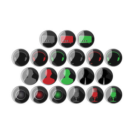 Icons set headset headphone microphone camera chat support options online offline. Green red grey colors.  Vector
