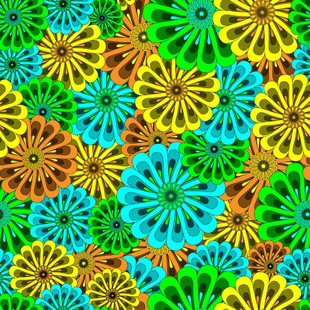 Seamless floral pattern of green, yellow, orange and azure flowers - background illustration