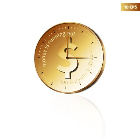 watch out: Golden watch - coin with text money is running out.  Illustration