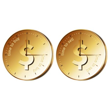 buy sell: Golden watch - coin with text time to buy, time to sell.  Illustration