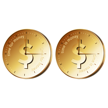 money time: Golden watch - coin with text time is money, time for money.
