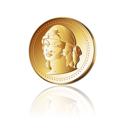 privateer: Gold coin with a pirate face. 10 EPS