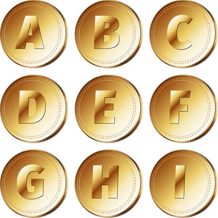 part of me: Monedas de oro con caracteres latinos - parte 1 A - ilustraci�n I. Vector EPS 10