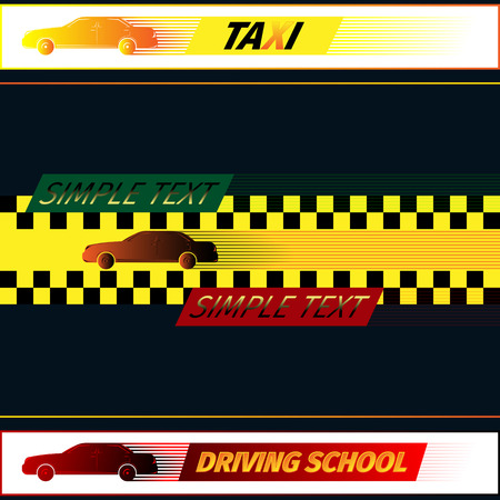 driving school: Driving school and taxi logo template. Vector illustration EPS 10 Illustration