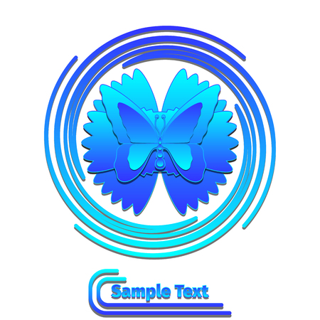 butterflies for decorations: Blue butterfly in swirl on white background logo design vector template. Butterfly icon with place for text. EPS 10 Illustration