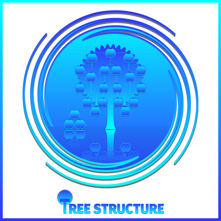 corporate hierarchy: Tree structure corporate hierarchy. Apple tree on whirlpool background. EPS 10
