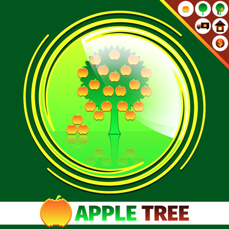 orchard: Apple orchard logo design template. Apple tree on sun background. 6 icons - apple, tree, home, car and dollar sign. All elements are combined into groups and subgroups. Illustration
