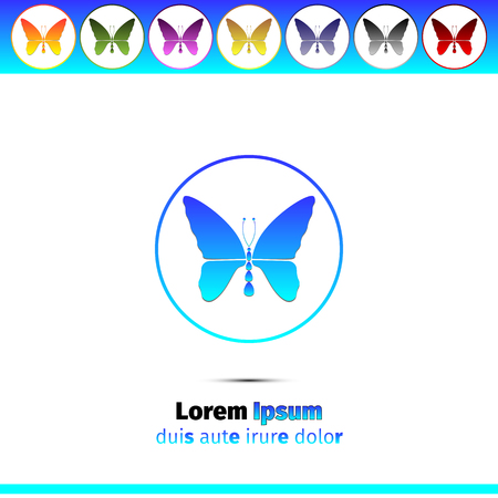 verde y morado: Simple round icons with butterfly - blue, red, orange, yellow, green, purple and black. Simple logo design vector illustration