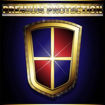 golden shield: Golden shield - Premium protection. Vector illustration EPS 10