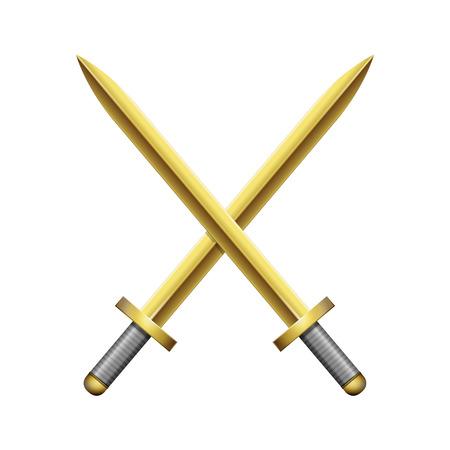 cross armed: Two crossed golden swords on white background. Vector illustration EPS 10 Illustration