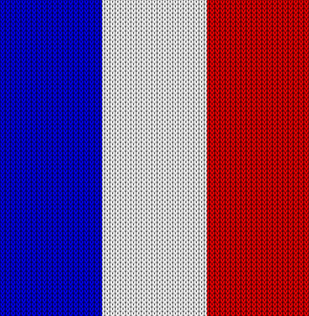 french culture: Knitted flag of France. Background vector illustration