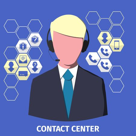 contact center: Contact center employee with a headset. Set of icons. Vector illustration