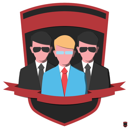 watchman: Two guards in black suits and a man in civilian clothes. on the background of the shield with ribbon for your text. Background vector illustration