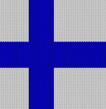 finland: Knitted flag of Finland. Background vector illustration